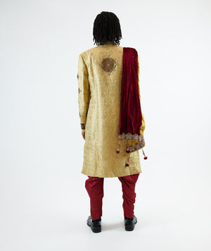 Silk Brocade Flax Gold Embroidered & Enhanced Rhinestone Work Sherwani
