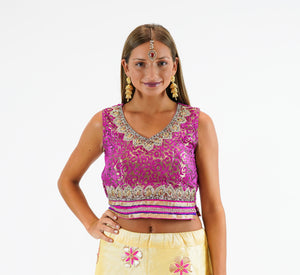 Silk Brocade Embroidered Cerise Pink Sleeveless Crop Top