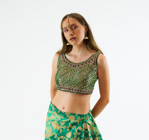 Silk Heavy Embroidered Sea Green Sleeveless Crop Top