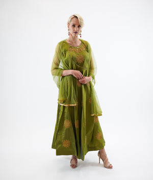 Silk Olive Green Embroidered Gown