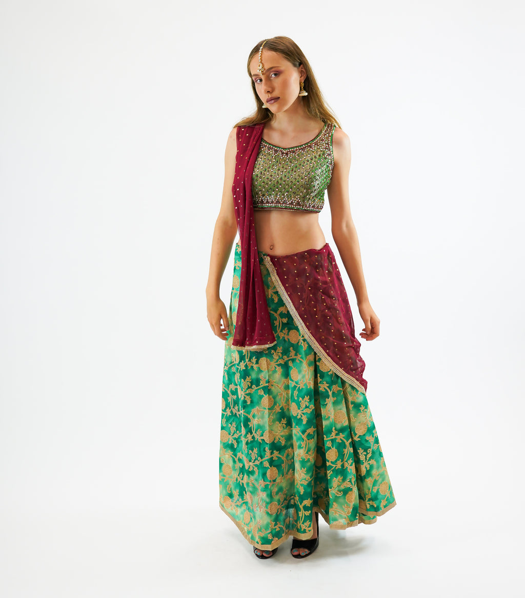 Silk Paris Green with Gold Trim Brocade Skirt