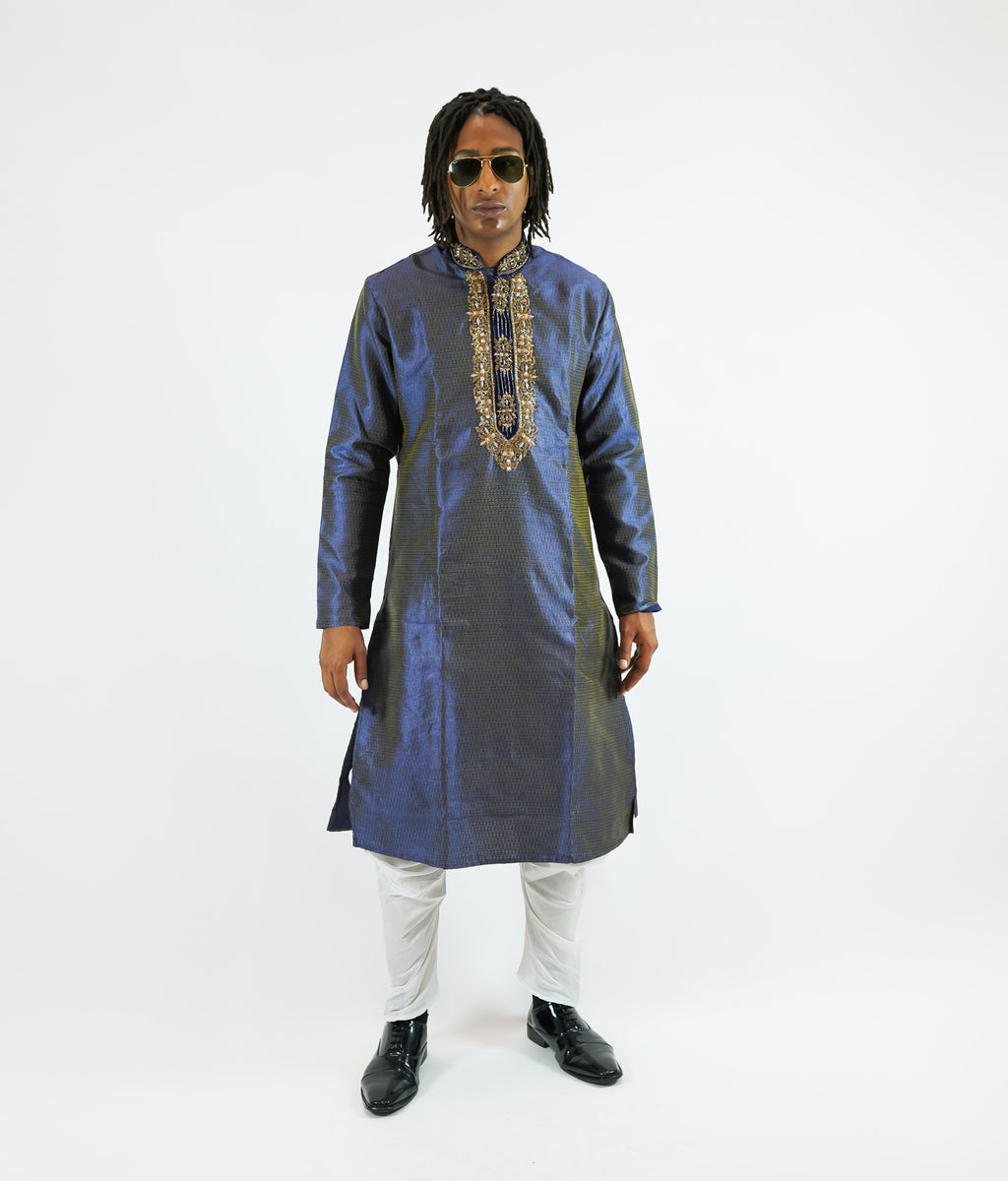 Silk Brocade Embroidered Air Force Blue Men's Kurta