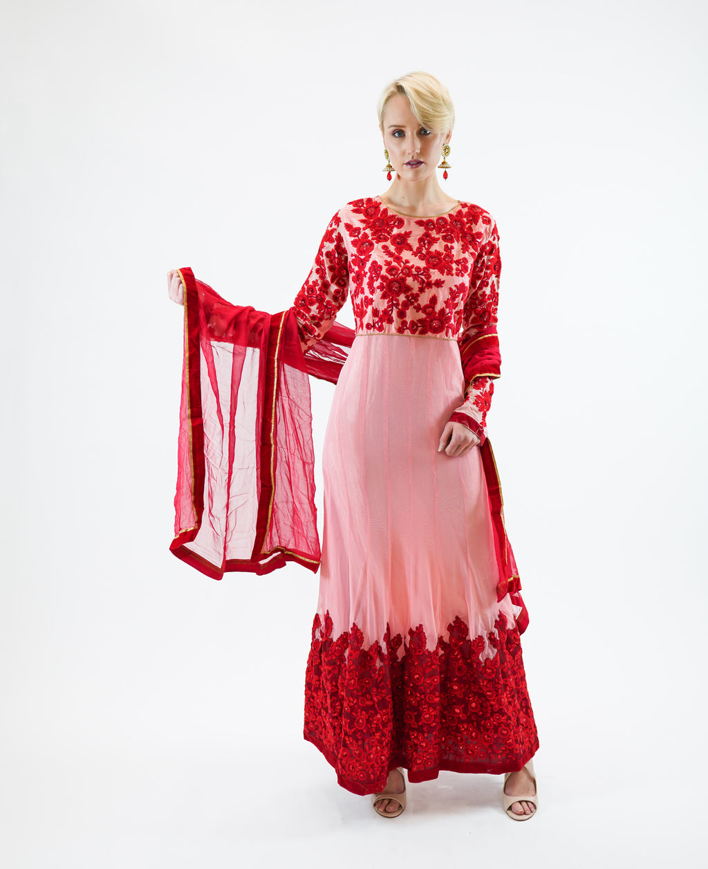 Georgette Rose Pink With Candy Apple Red Embroidery Gown