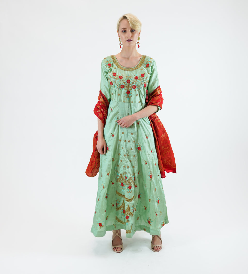 Silk Embroidered Emerald Green Gown
