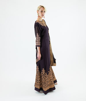 Silk Georgette Embroidered Dark Clay Brown Gown