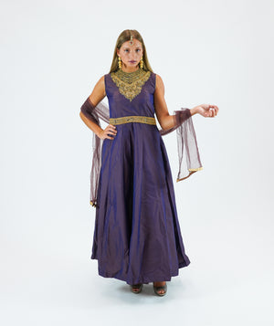 Silk Plum Purple Embroidered Gown