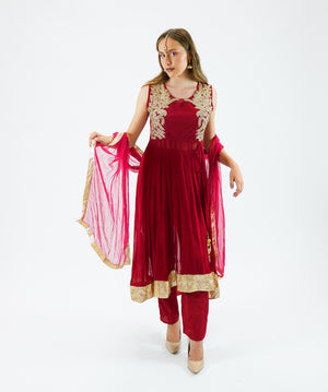 Georgette Embroidered Crimson Red Salwar Kameez