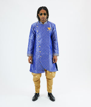 Silk Brocade Asymmetric Egyptian Blue Bandhgala Long Sherwani / Jacket