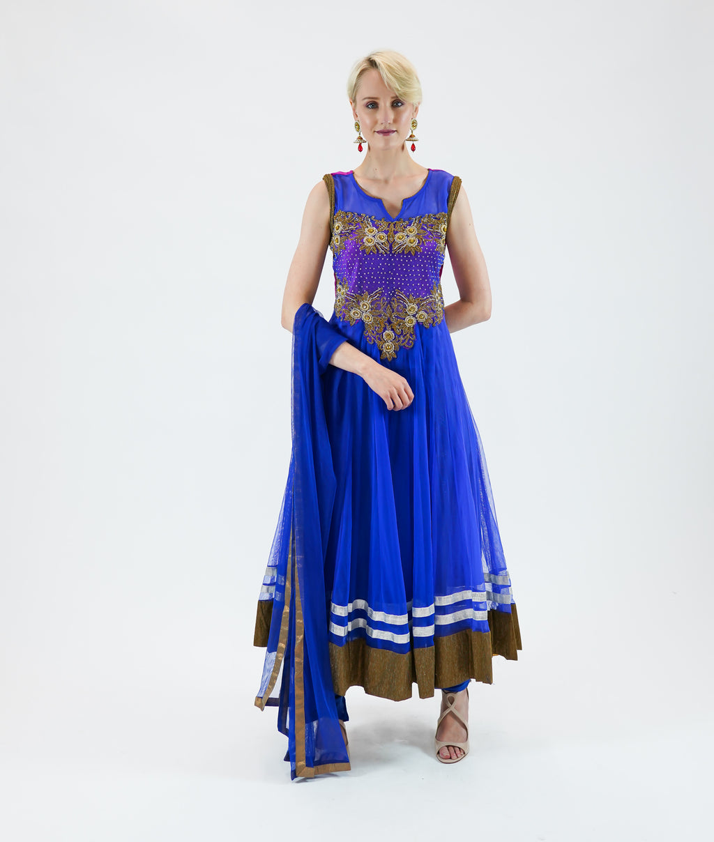 Embroidered Georgette Egyptian Blue With Golden Border Anarkali/Gown