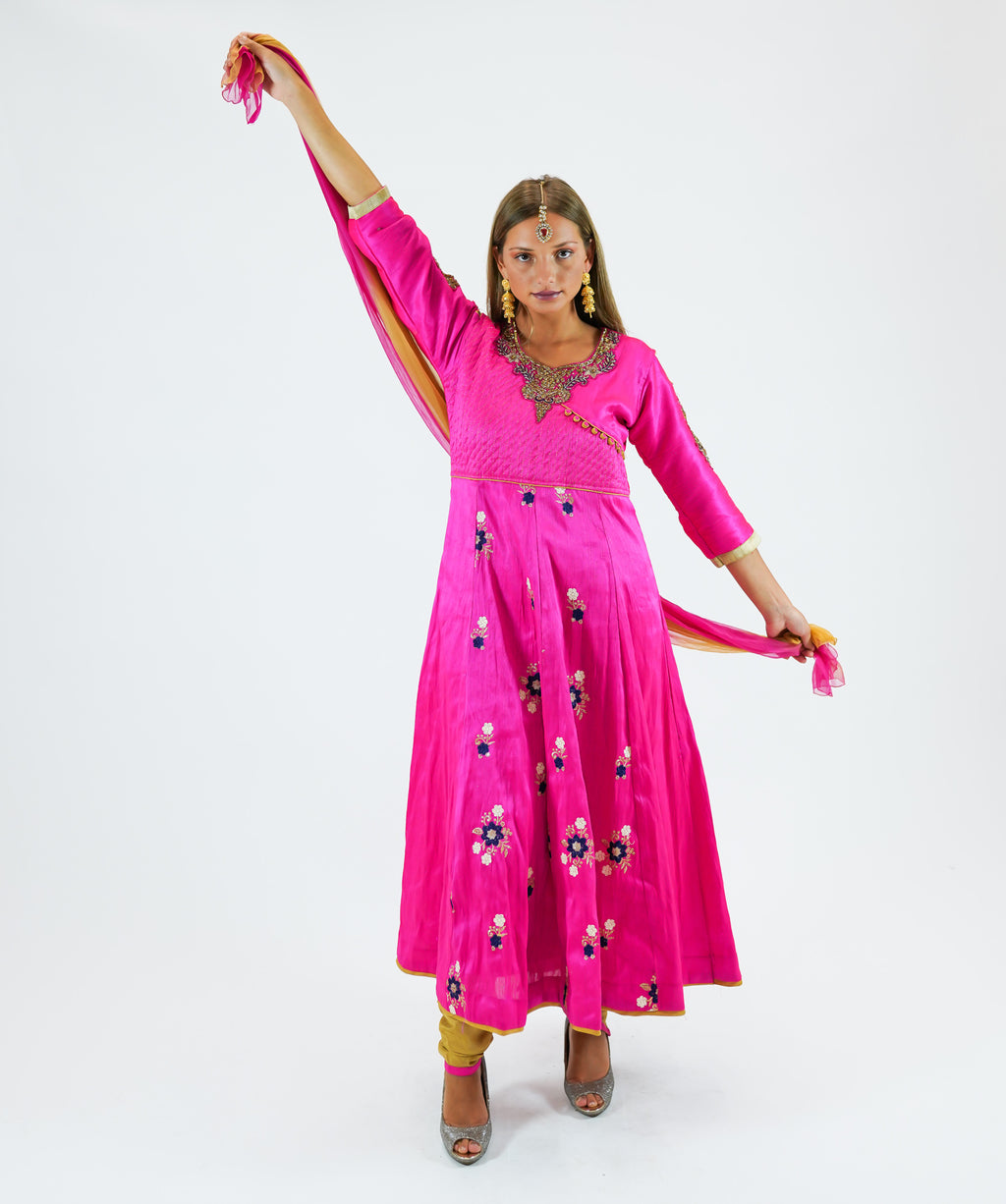 Embroidered Silk Hot Pink Anarkali