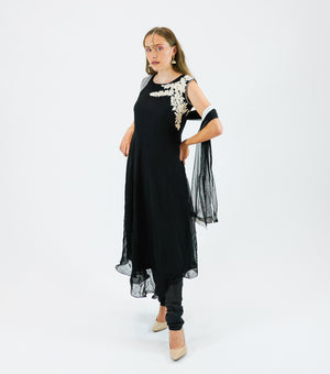 Georgette Jet Black Embroidered Anarkali