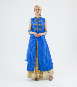 Silk Embroidered  Blue Anarkali Split Lehenga