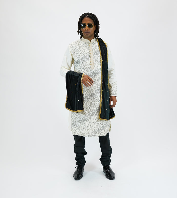 Silk Heavy Embroidered Pearl White Men's Kurta