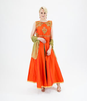 Silk Embroidered Tiger Orange Gown