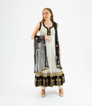 Georgette Daisy White With Golden Embroidery on Black Border Anarkali
