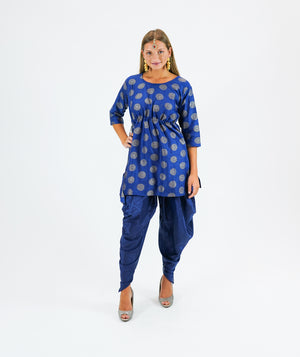 Silk Brocade Short Royal Blue Kurta With Dhoti/Tulip Pants