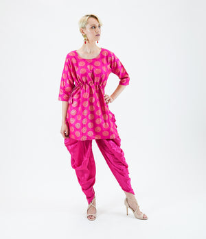 Silk Brocade Short Fuchsia Pink Kurta With Dhoti/Tulip Pants