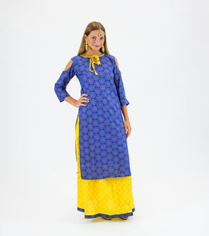 Cotton Printed Sapphire Blue With Lemon Yellow Anarkali Split Lehenga