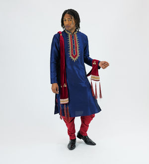 Silk Embroidered Oxford Blue Men's Kurta