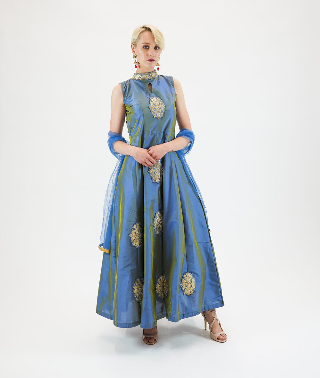 Silk Light Air-Force Blue Embroidered Gown
