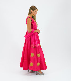 Silk Hot Pink Embroidered Gown