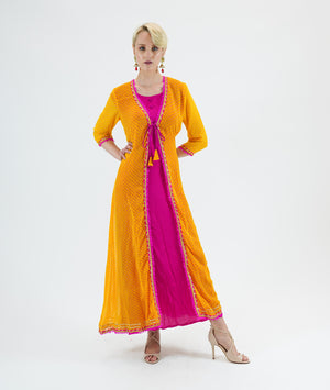 Silk Chiffon Two Piece Fuchsia Pink And Canary Yellow Gown