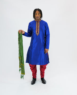 Silk Embroidered Ultra Marine Blue Men's Kurta