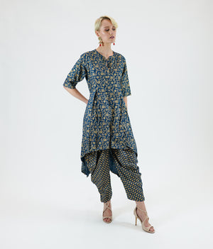 Cotton Block Printed Prussian Blue Asymmetric Kurta With Dhoti/Tulip Pants