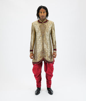 Silk Brocade Mellow Gold Embroidered Bandhgala /Sherwani