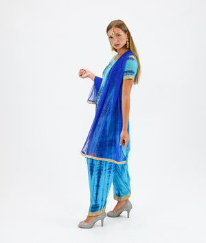 Georgette Olympic Blue With Egyptian Blue Embroidered Salwar Kameez