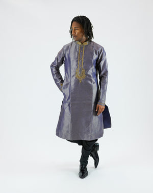 Silk Embroidered Dark Air Force Blue Men's Kurta