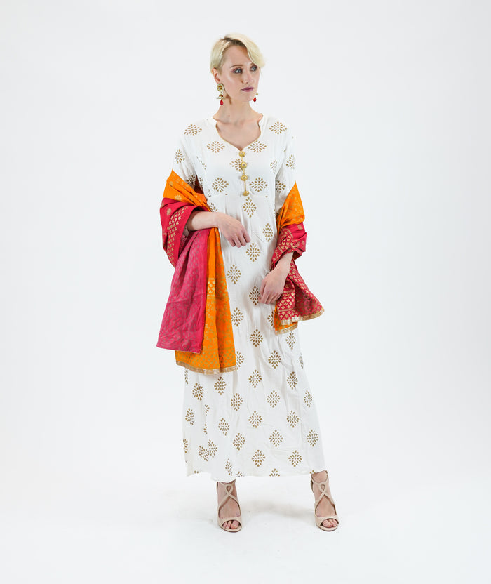 Cotton Block Printed  Snow White Gown