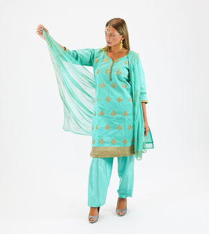 Silk Embroidered Jade Green Salwar Kameez