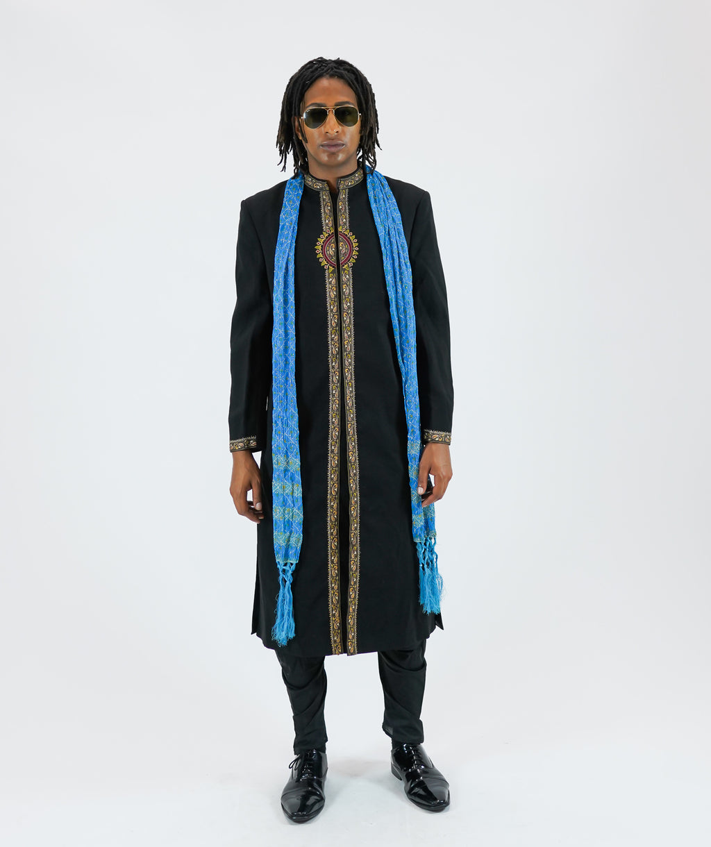 Silk Black Embroidered Long Sherwani
