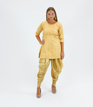 Silk Brocade Short Blonde Yellow Kurta With Dhoti/Tulip Pants