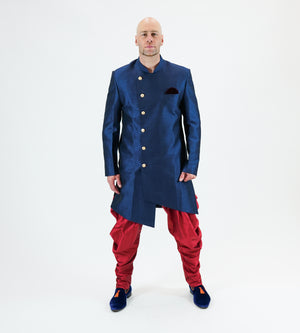 Silk Asymmetric Prussian Blue Long Sherwani / Jacket