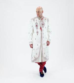 Silk Brocade White Heavy Embroidered & Enhanced Rhinestone Work Sherwani