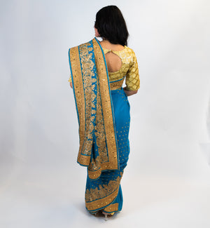 Blue with Golden Embroidery Silk Saree