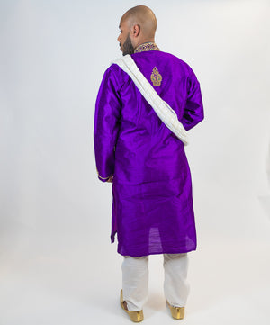 Bright Purple with Gold Embroidery Trim Silk Kurta