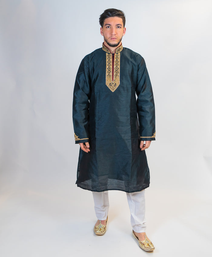 Silk Soft Black with Gold Embroidery Trim Kurta