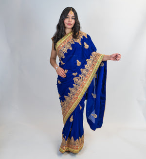 Blue with Zari Embroidery Formal Silk Saree
