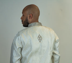 Silk Brocade White with Silver work Kurta