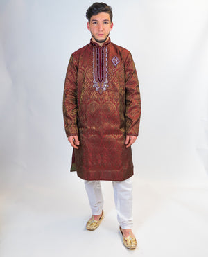 Silk Brocade Maroon With Crystal work Kurta