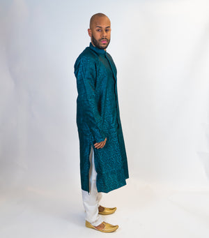 Blue Brocade Silk Front Open Kurta