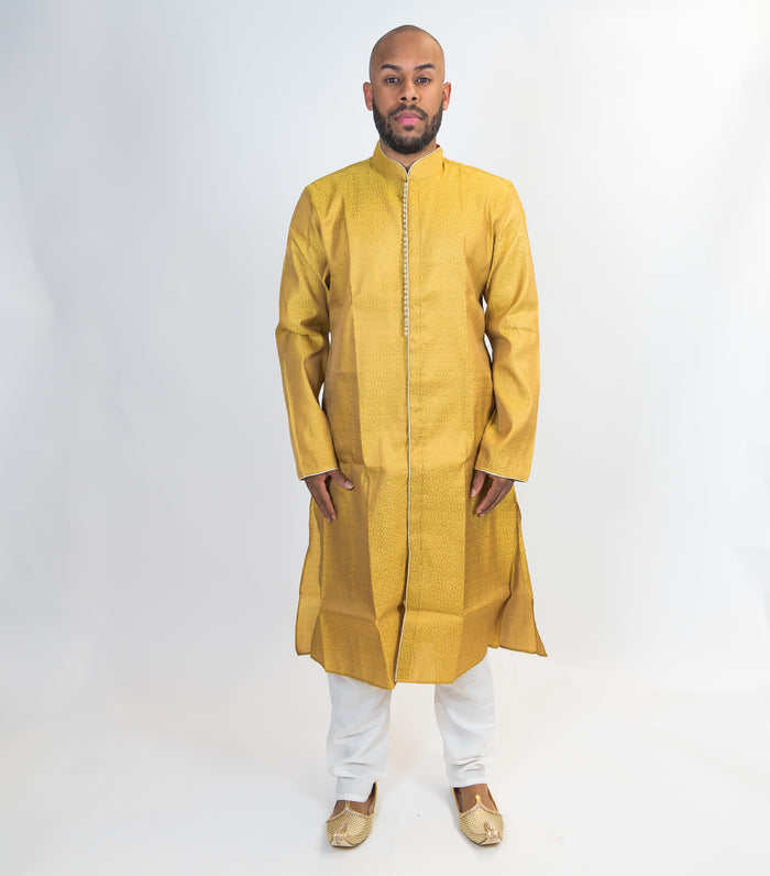 Regal Gold Brocade Silk Front Open Kurta