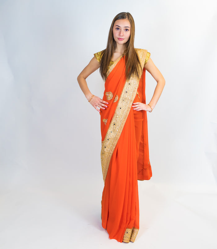 Orange with Gold Embroidery Silk Saree