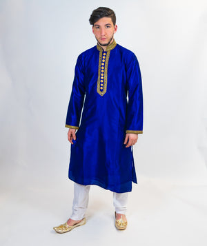 Rich Blue Silk Kurta with Gold work on Trim