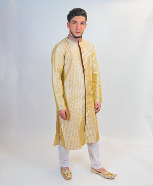 Cream Brocade Silk Front Open Kurta with Rose Maroon Trim