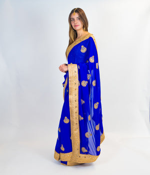 Rich Blue Silk Saree with Zari Embroidery