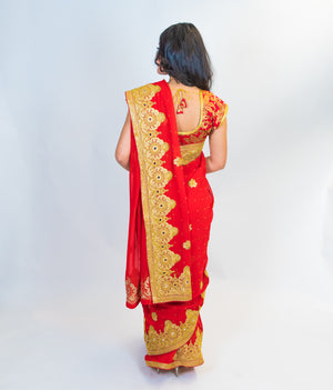 Red Silk Sari with Golden Zari work